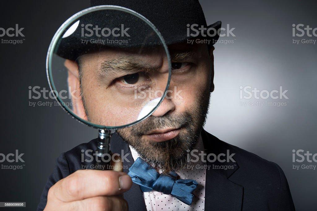 Men seriously received the eye exam stock photo
