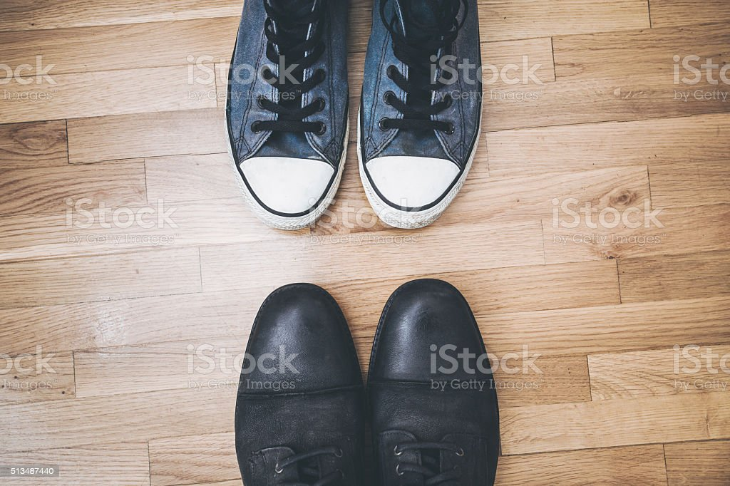 men shoes and sneakers stock photo