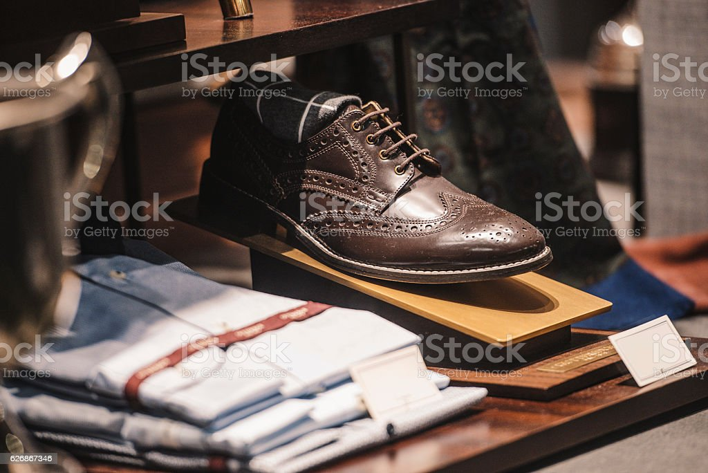 Men shoes in a luxury store stock photo