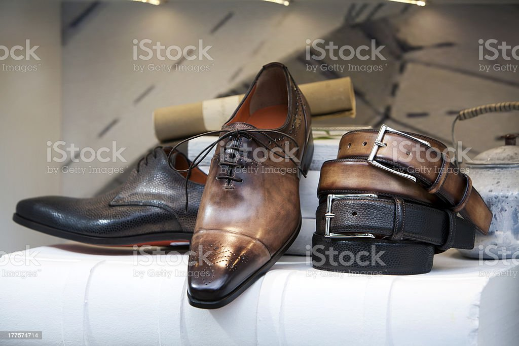 Men shoes in the shoe store royalty-free stock photo