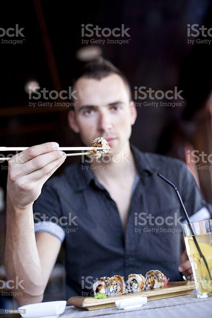Men Showing Sushi royalty-free stock photo