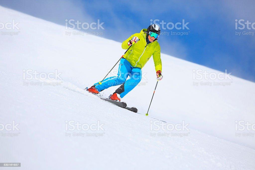 Men snow skier skiing on sunny ski resorts  Winter sport stock photo