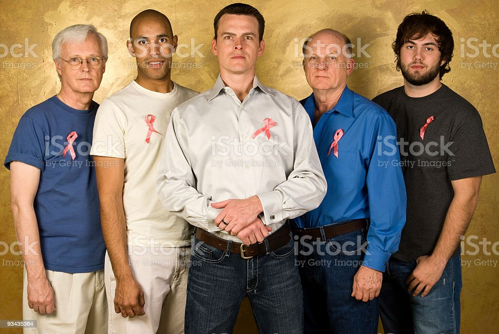 Men Supporting Breast Cancer Awareness royalty-free stock photo