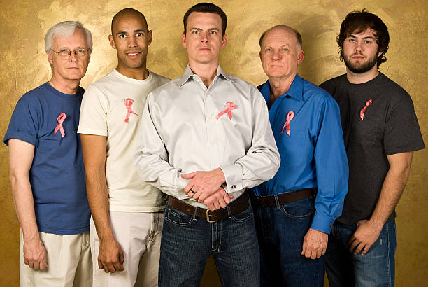 Men Supporting Breast Cancer Awareness stock photo