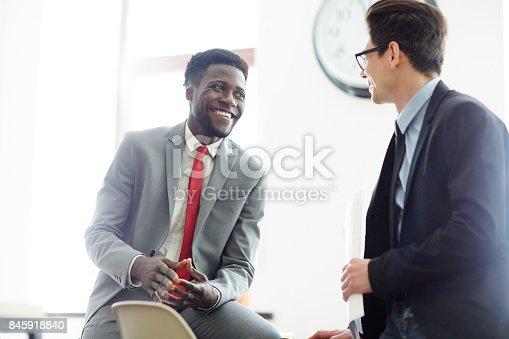 istock Men talking in office 845918840