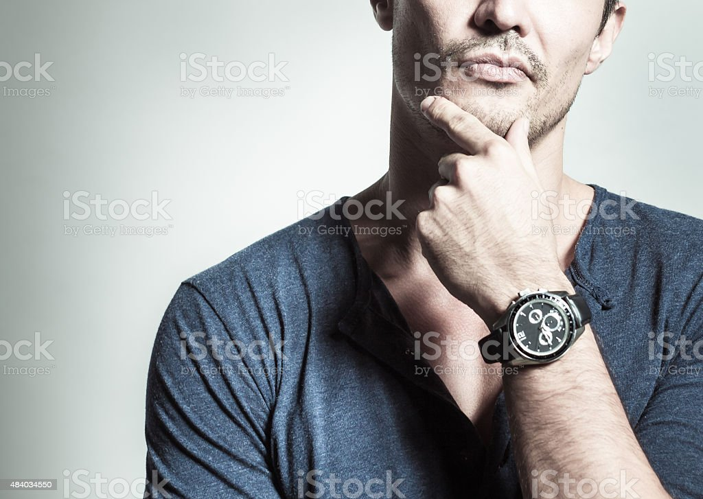 Men thinking stock photo