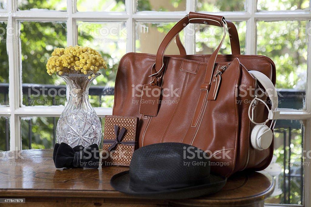 men travel accessories stock photo