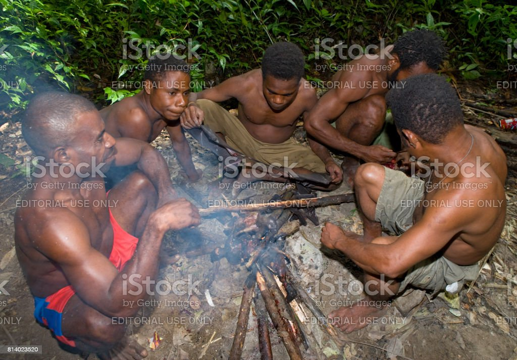 Men tribe Yaffi sit around the fire in the jungle. New Guinea Island, Indonesia. January 13, 2009. stock photo