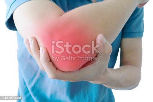 Men use their hands to hold their elbows and He had pain at the elbows.. Painful Health and medical concepts