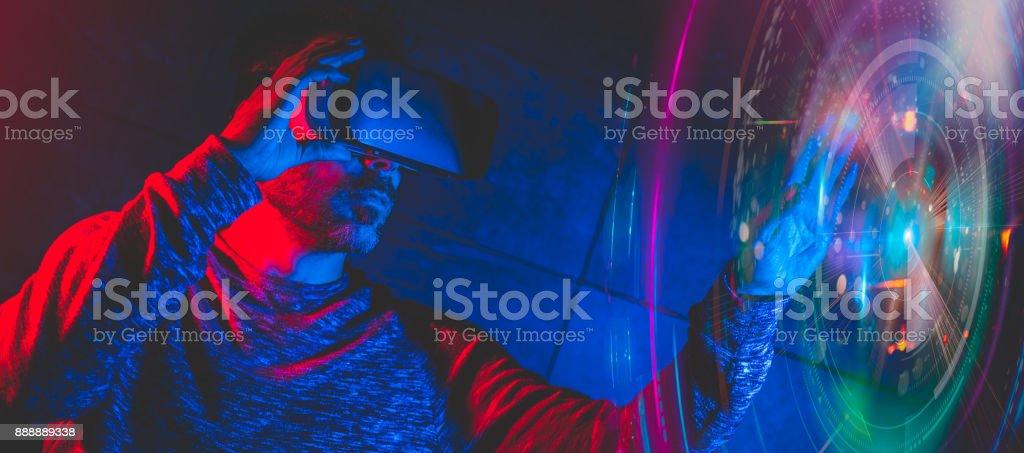 Men using virtual reality glasses stock photo