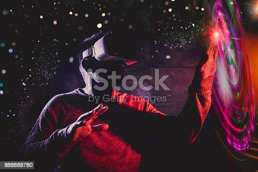 istock Men using virtual reality glasses 888889780