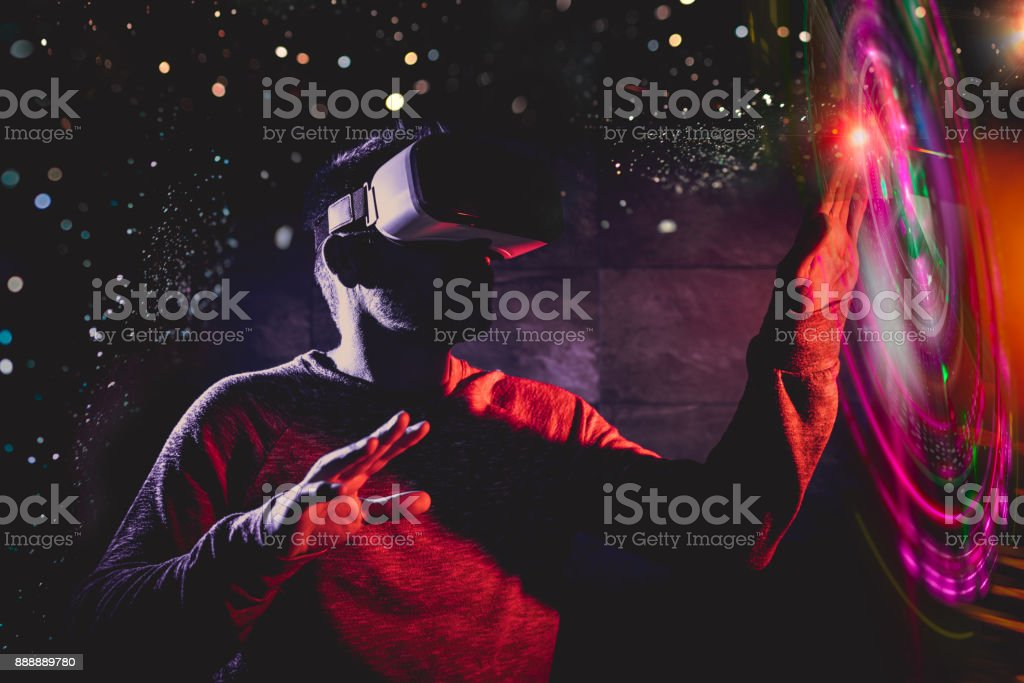 Men using virtual reality glasses stock photo