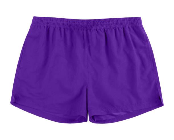 Men violet swim sport beach shorts trunks isolated on white stock photo