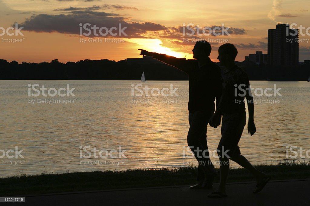 Men walking royalty-free stock photo