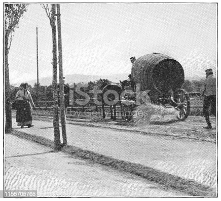 Two men spreading water on the streets to keep the dust down in Vienna, Austria. The Austro-Hungarian Empire era (circa 19th century). Vintage halftone photo etching circa late 19th century.
