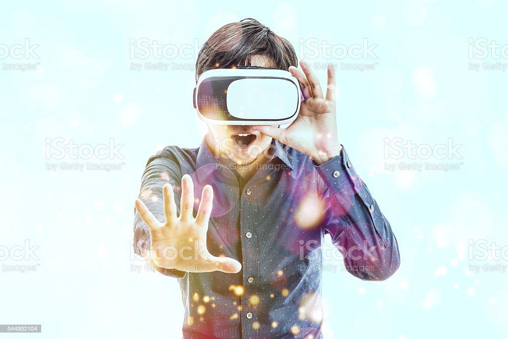 Men wearing goggles, virtual reality stock photo