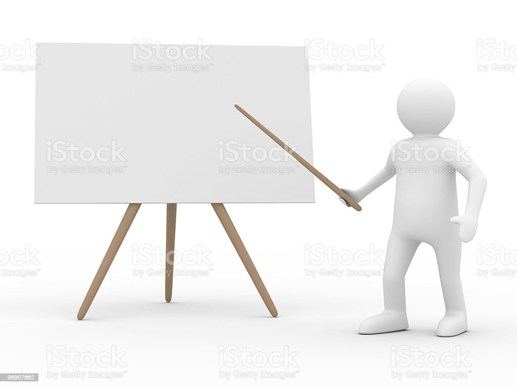 Men with empty board. Isolated 3d image royalty-free stock photo