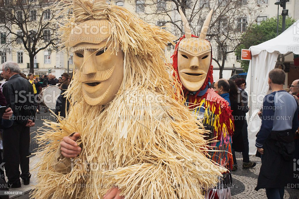 Men With Folklore Mask in Lisbon stock photo