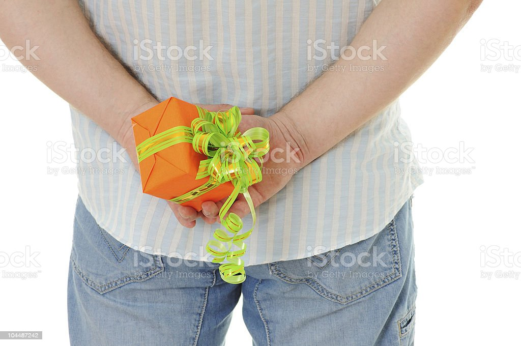 men with gift royalty-free stock photo