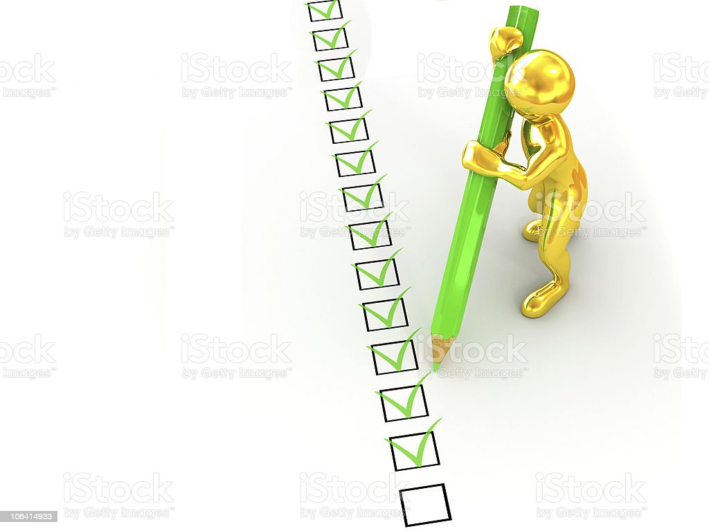 men with pen on questionnaire. 3d royalty-free stock photo