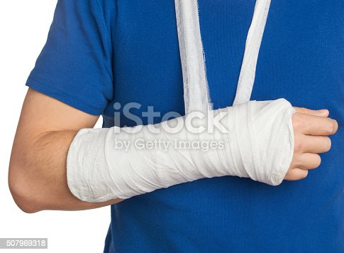 istock Men with plastered hand on white background 507969318