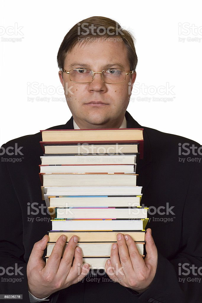 Men with stack of books royalty-free stock photo
