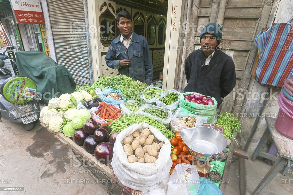 Men with vegetable stall royalty-free stock photo