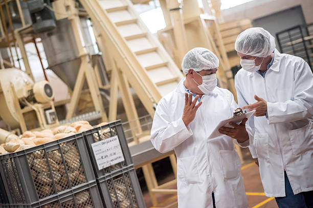 Men  working at a bread factory Men working at a bread factory doing quality control and wearing a uniform food warehouse stock pictures, royalty-free photos & images