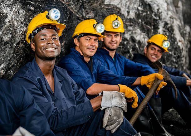Men working at a mine stock photo