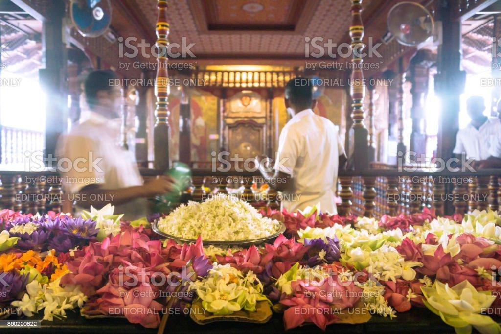Men working at the Temple of the Sacred Tooth, Sri Dalada Maligawa stock photo