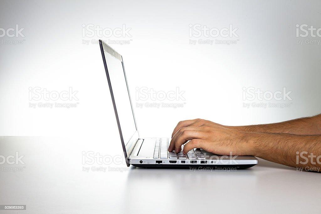 Men working on laptop stock photo
