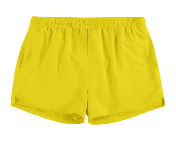 Men yellow swim sport beach shorts trunks isolated on white stock photo