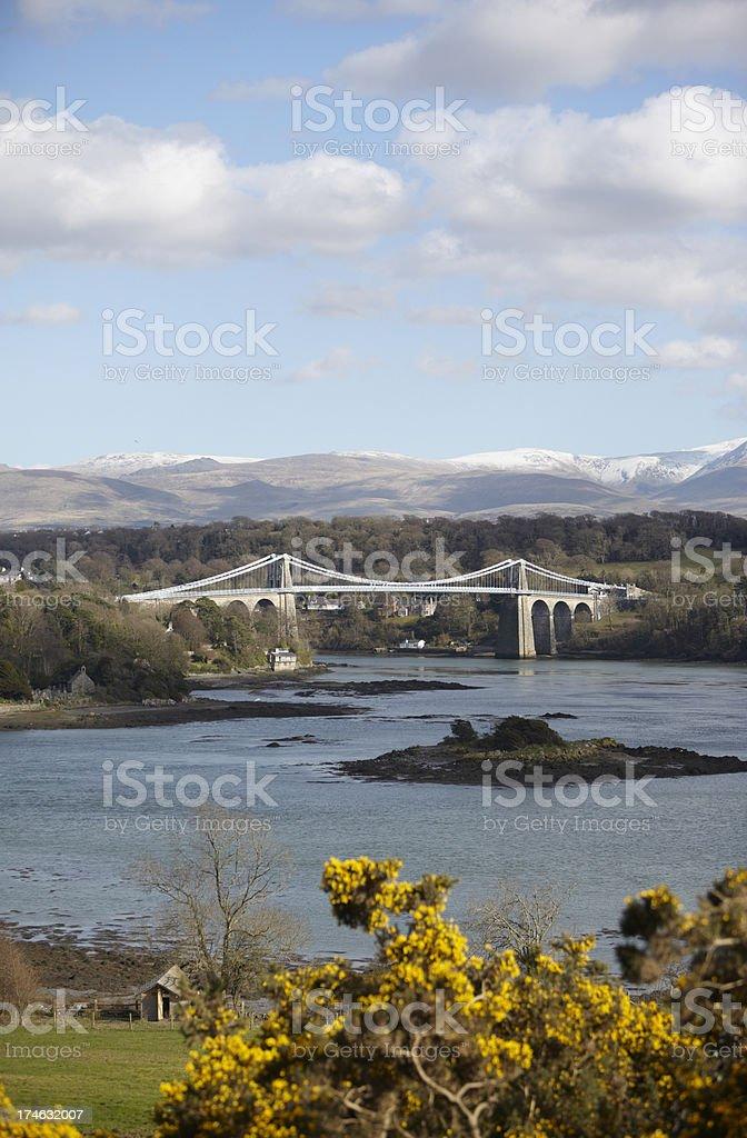 Menai Bridge From Anglesey towards Snowdonia royalty-free stock photo