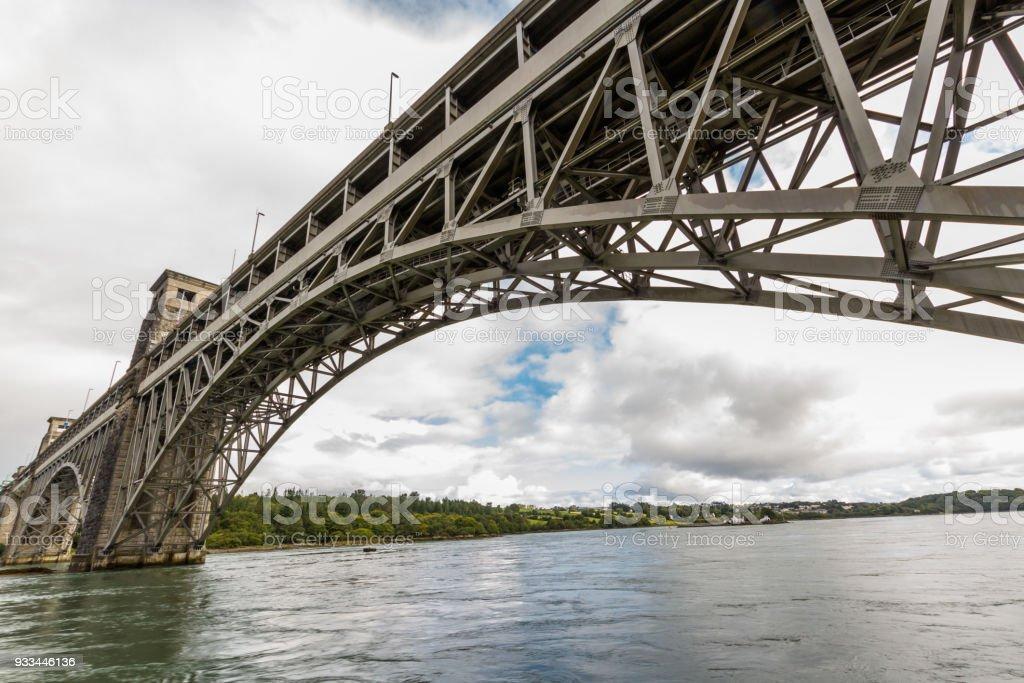 Menai Straits and the Britannia bridge from below. stock photo
