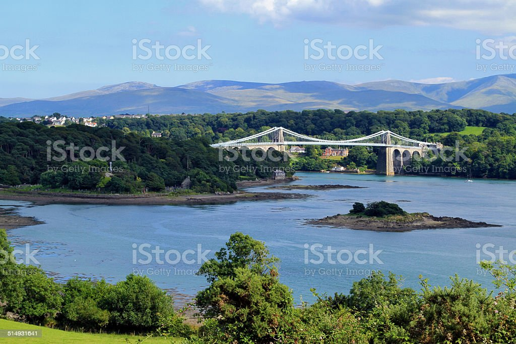 Menai Straits Suspension Bridge royalty-free stock photo