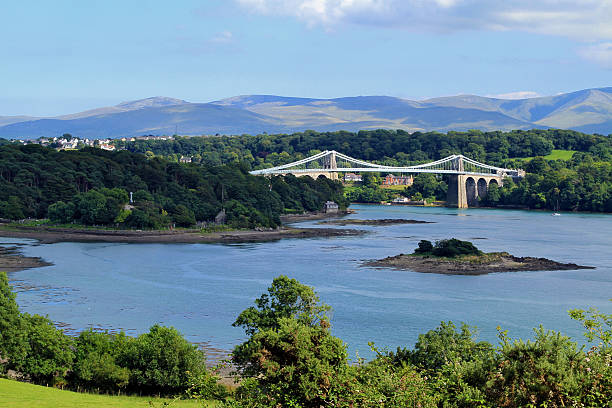 Menai Straits Suspension Bridge stock photo