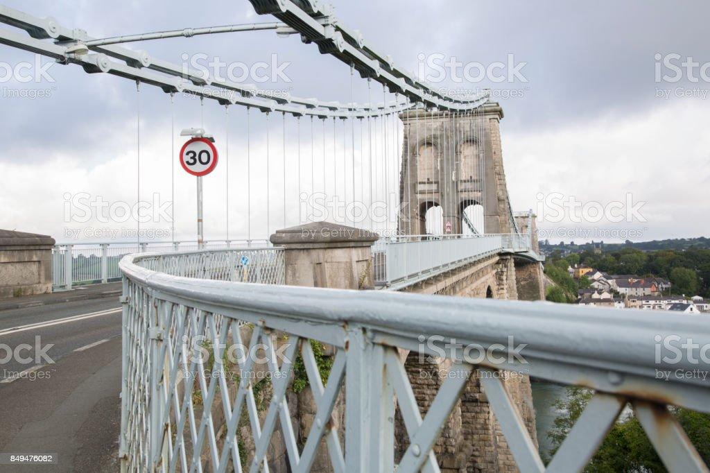 Menai Suspension Bridge; Anglesey; Wales stock photo