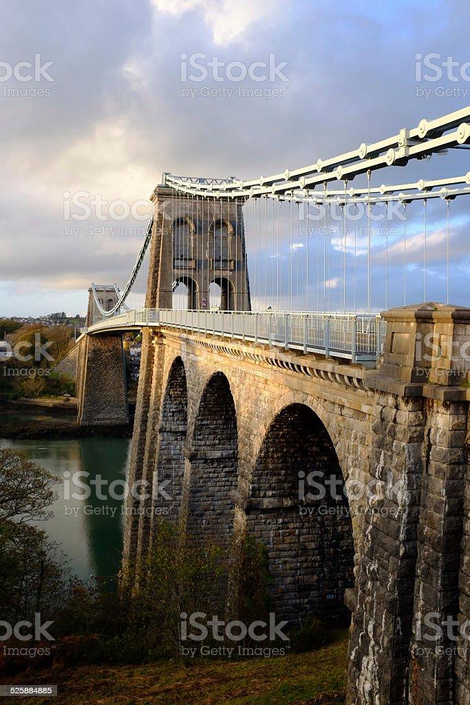 Menai Suspension Bridge portrait stock photo