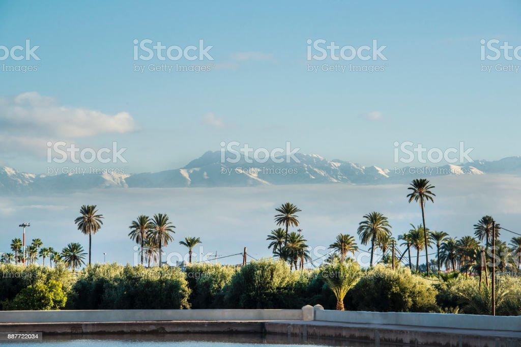 Menara Gardens in front of Atlas Mountains, Marrakech, Morocco stock photo