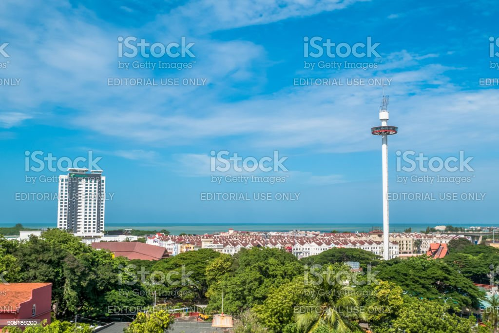 Menara Taming Sari Tower view from St Paul Hill.Malacca City was listed as a UNESCO World Heritage Site on 7 July 2008. stock photo