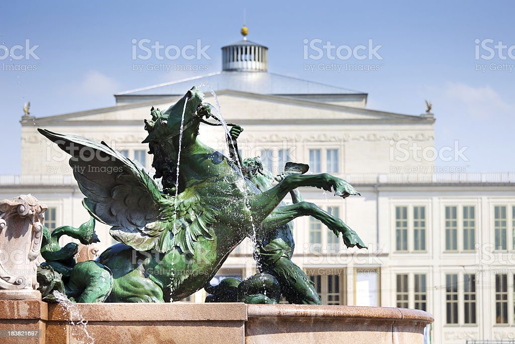 Mende Fountain in Leipzig, Germany stock photo