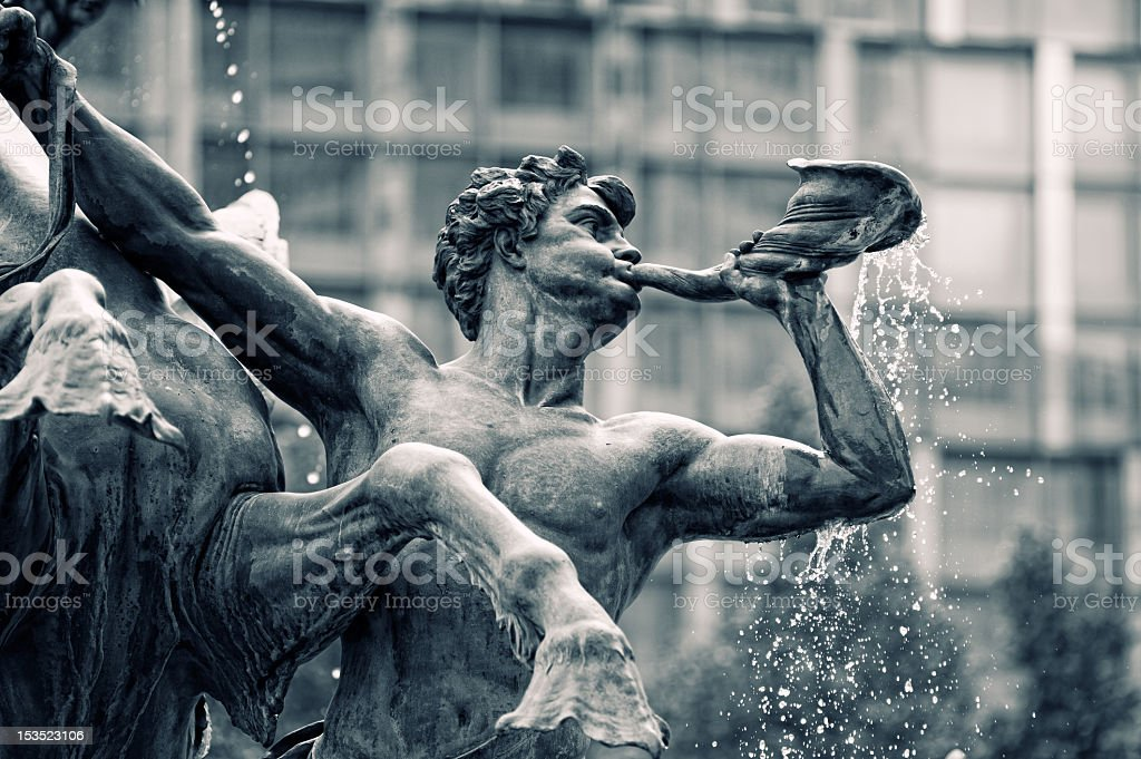 Mendebrunnen. Fountain in Leipzig, Germany stock photo