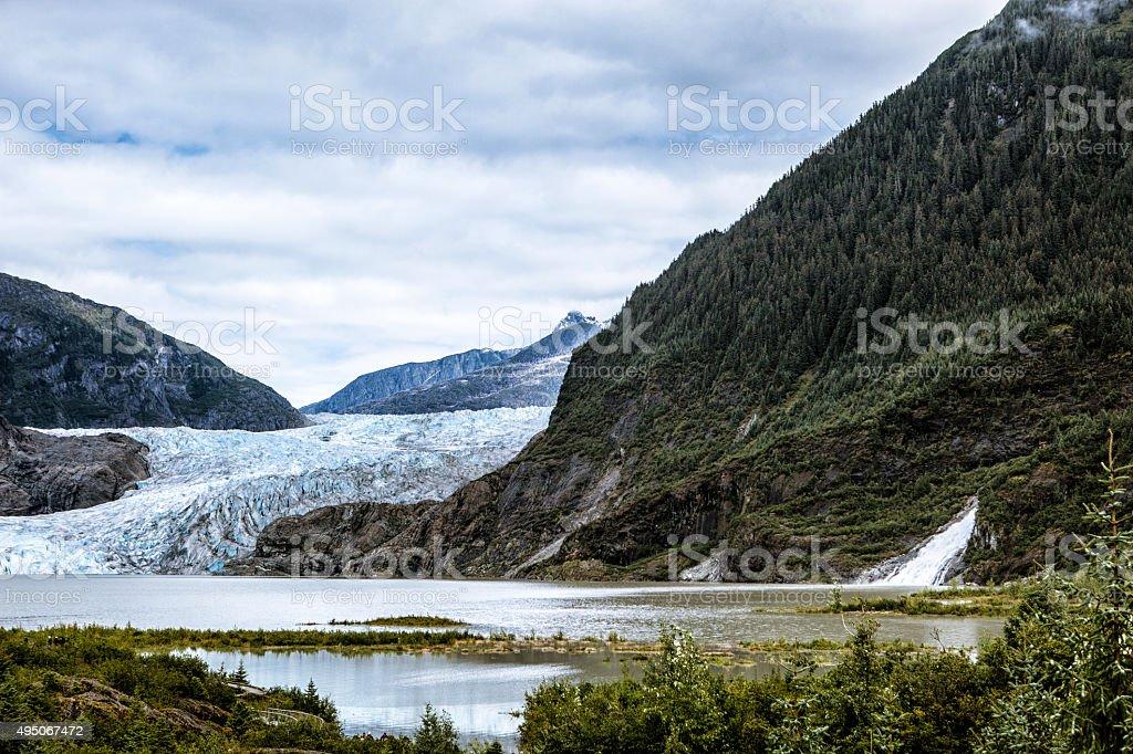Mendenhall Glacier and Lake in Juneau, Alaska stock photo