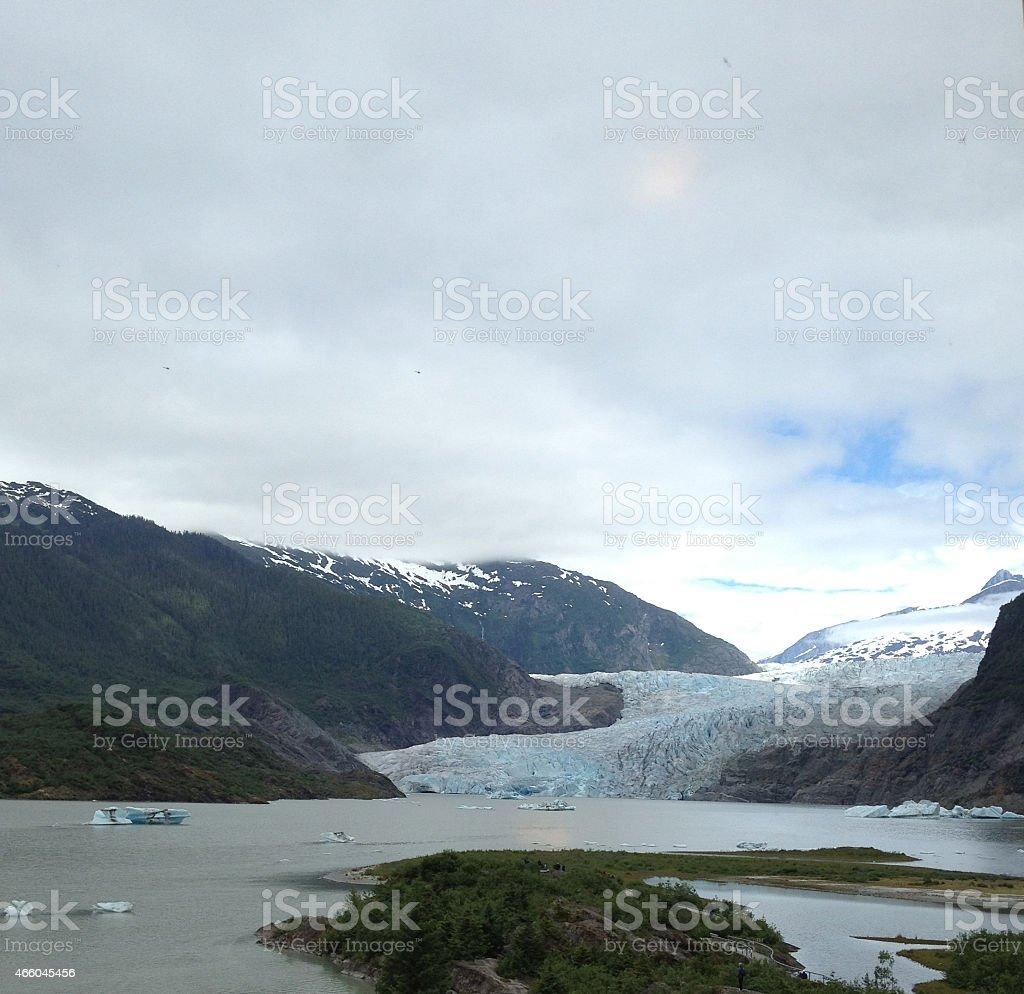 Mendenhall Glacier and lake stock photo