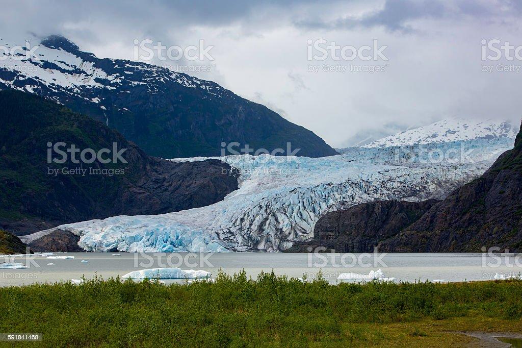 Mendenhall Glacier Near Juneau in Alaska stock photo