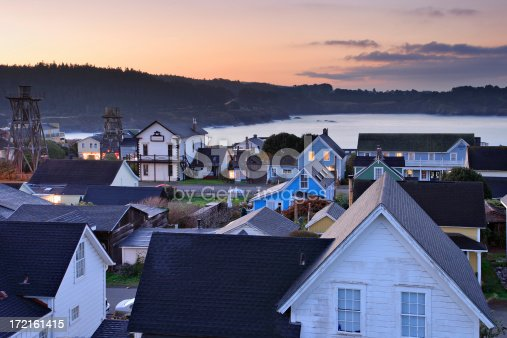 The village of Mendocino at dawn (Mendocino County, California).