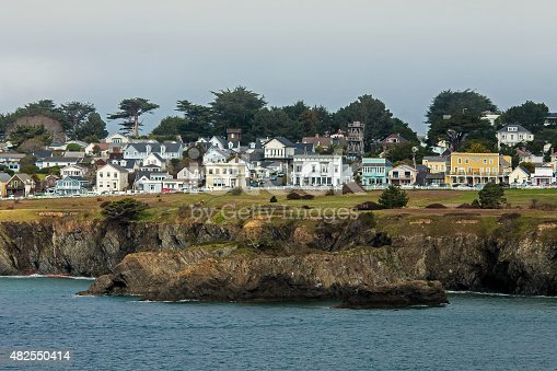 Fog and wind roll over the coastal village of Mendocino on the Pacific Ocean in northern California.