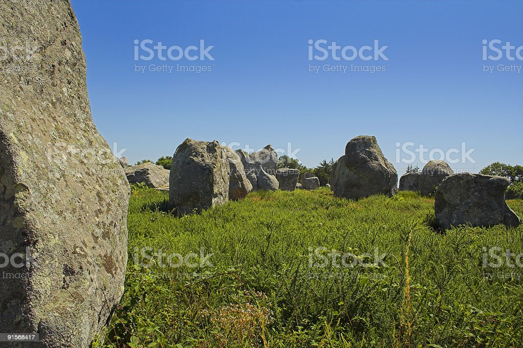 Menhir in Carnac-Brittany stock photo