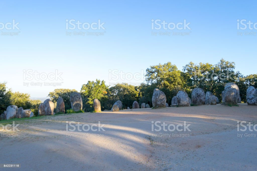 Menhirs in a cromlech close to Evora in Portugal stock photo