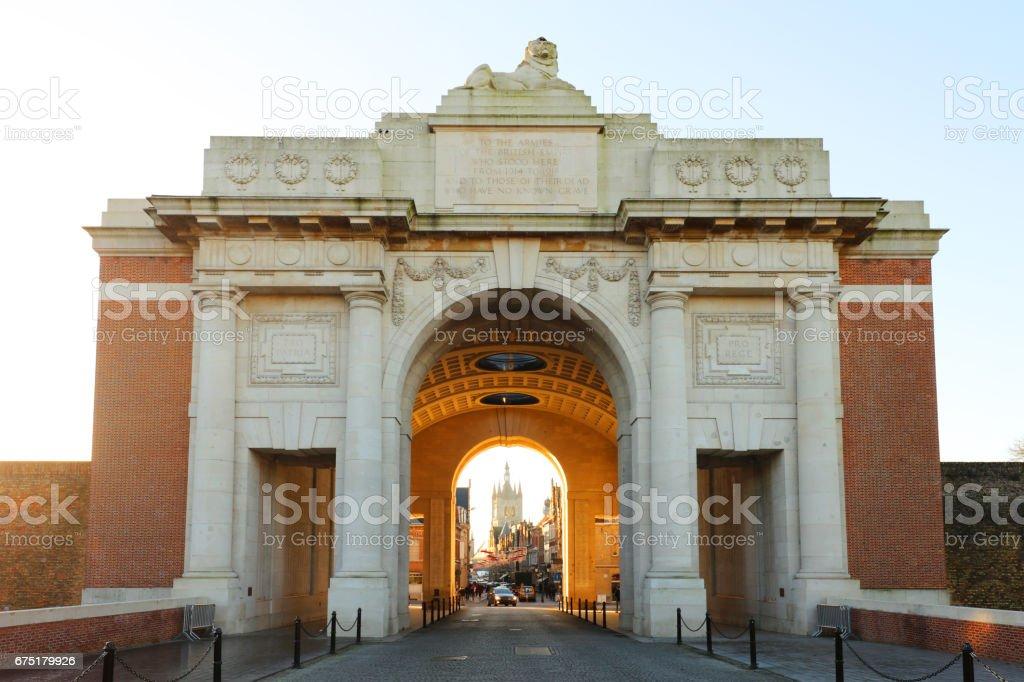 Menin Gate World War I Memorial in Ypres, Belgium stock photo